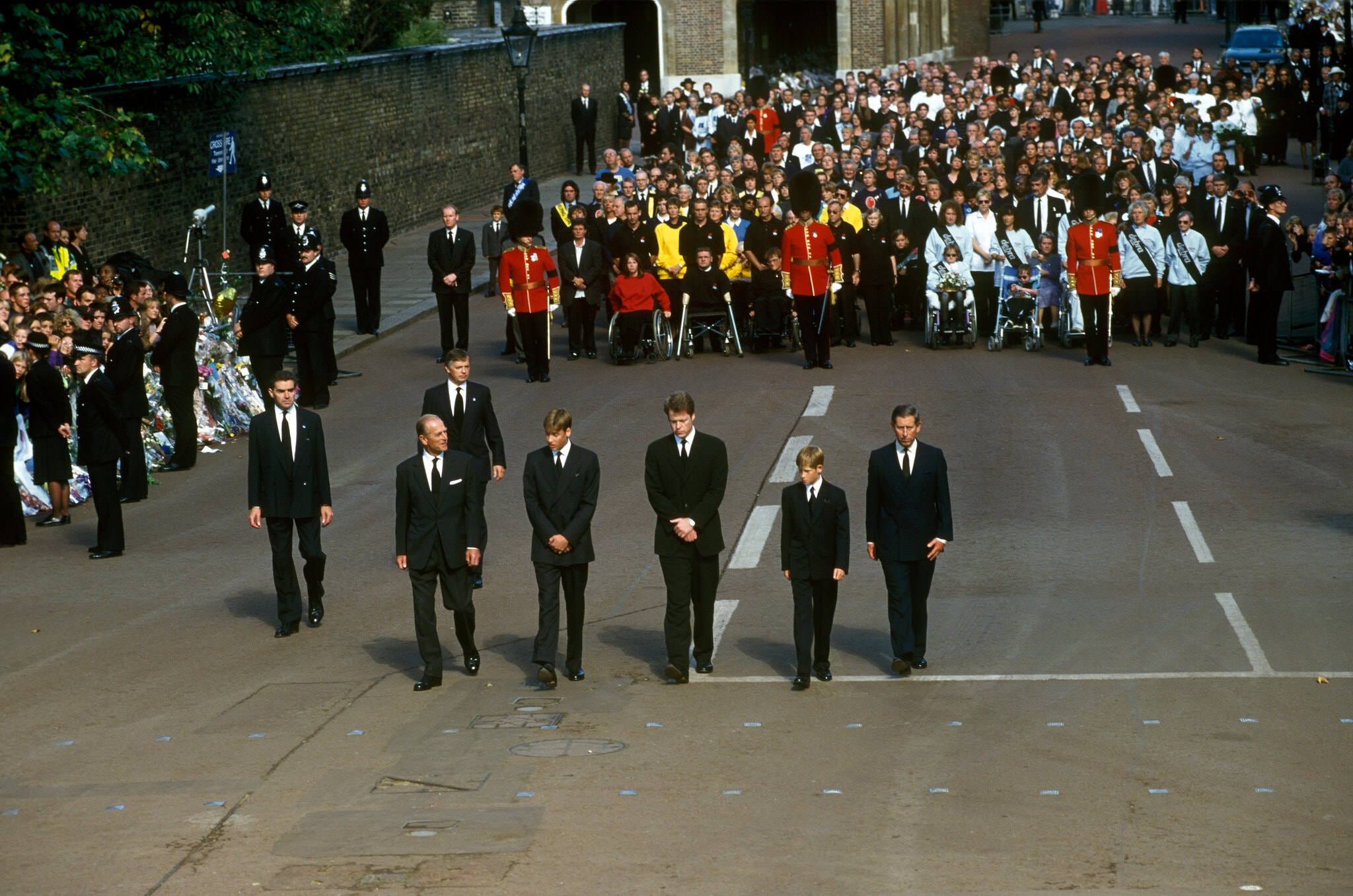 Front from left, Prince Philip, Prince William, Earl Spencer, Prince Harry and Prince Charles at the funeral of Diana, Princess of Wales, in 1997.Credit...John Shelley Collection/Avalon, via Getty Images